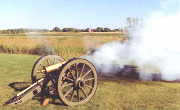 Mountain Howitzer Cannon being fired